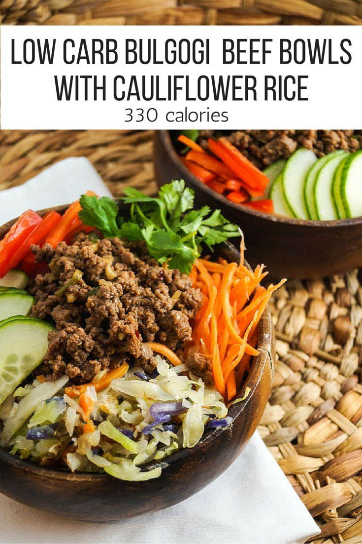 In about twenty minutes, this quick and easy Korean Bulgogi Ground Beef Bowl Served over a bowl of cauliflower rice with lots of fresh, crunchy vegetables. One of the best known dishes in Korea for a reason, this delicious flavor combination provides a great keto or low carb meal that is a little different to the norm.  Whole 30: