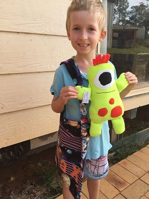 Melisa's son made this wonderful creation using my 'Kids Creations: Easy Softie Projects' pattern.  Isn't it fantastic!  I LOVE it!  And he is entering it into the Canberra show too!  What a great job he has done.