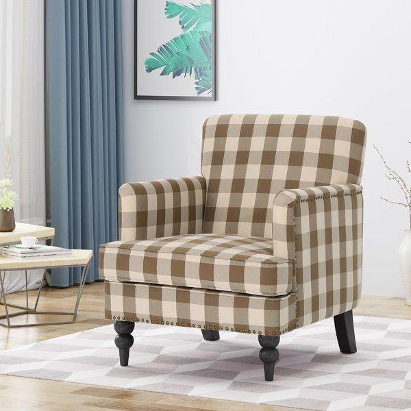 August Grove Neff Armchair Wayfair Dark Brown Living Room Furniture Club Chairs Tufted Club Chairs