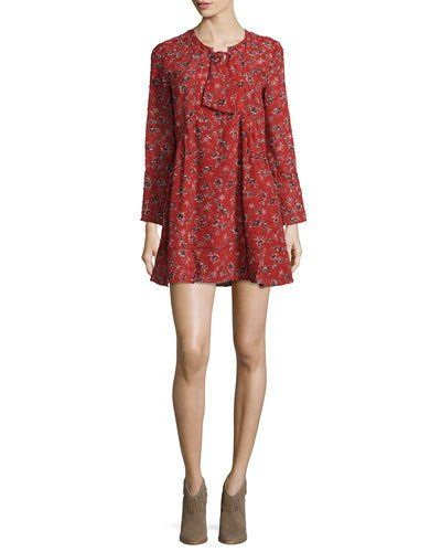 Ba+Sh+Gavras+Floral+Long+Sleeve+Minidress+Dress+|+Clothing