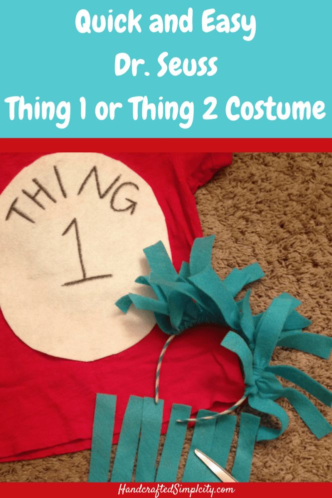 Super easy Dr. Seuss Thing 1 or Thing 2 Costume
