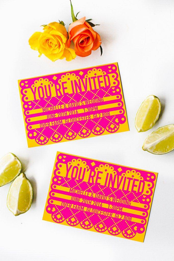 Free Printable Papel Picado Mexican Wedding Invitations Editable