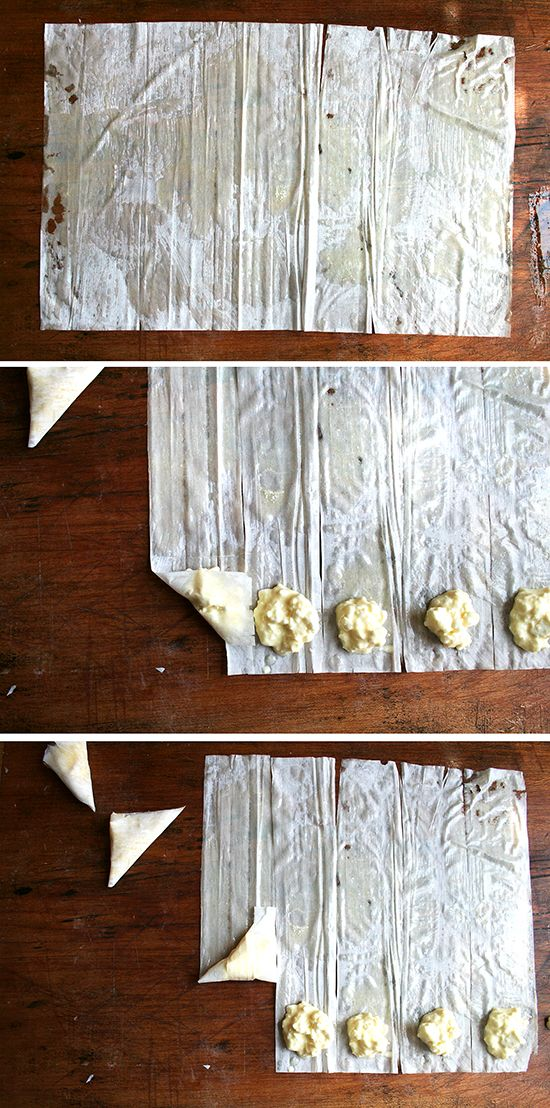 Use phyllo dough like samboosa dough with different fillings. Filling here is for egg and cheese.