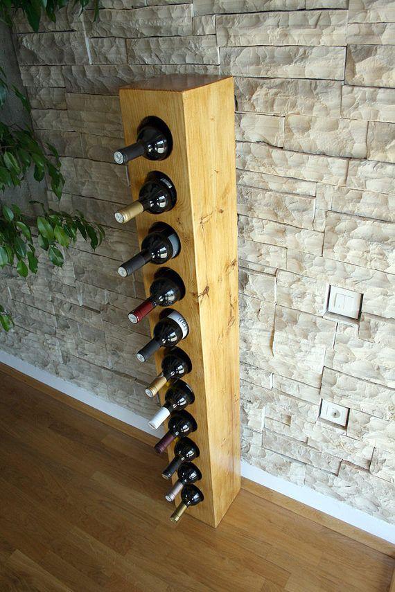 Solide Holz massive Rustikales Weinregal für 11 Flaschen /
