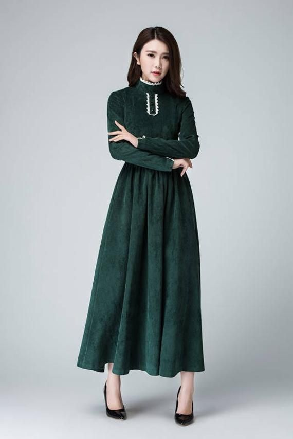 75905b3f57 Green dress, corduroy dress, maxi dress, winter dress, bridesmaid ...