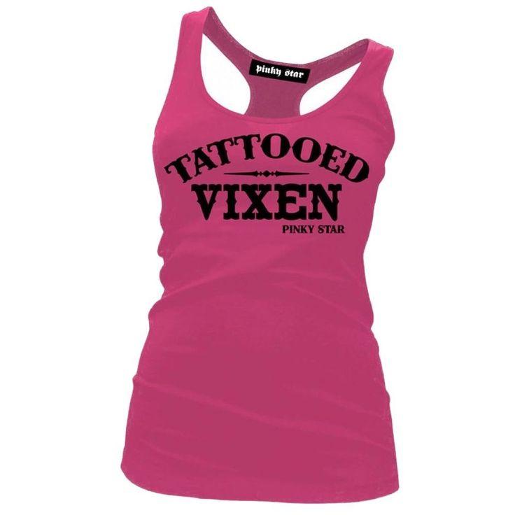 Women'S Pinky Star Tattooed Vixen Racerback Tank Top Pink Ink Inked Tattoo