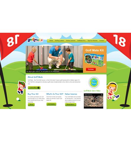 GOLF MATE is a fun child friendly website for a first of its kind unique golf company. We have adapted a children's look and feel with its cartoon appearance and also includes embedded video links. A fun and friendly website for an innovative global product.