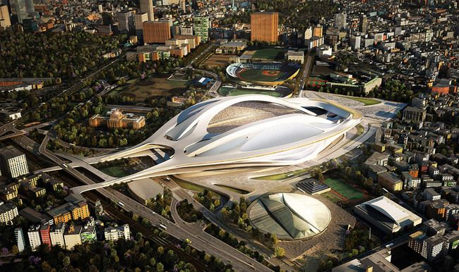 Zaha Hadid's winning stadium proposal. (Courtesy Japan Sport Council)
