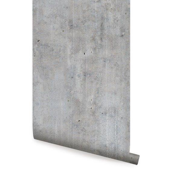 Cement Concrete Peel Stick Fabric Wallpaper Repositionable Etsy Concrete Wallpaper Peel And Stick Wallpaper Fabric Wallpaper