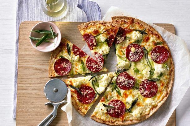 Salami, sage and ricotta pizzas main image