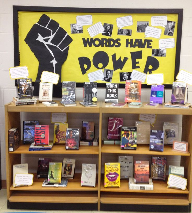 """""""Words Have Power"""" - February Bulletin board and library book display featuring books by African American authors for Black History Month"""
