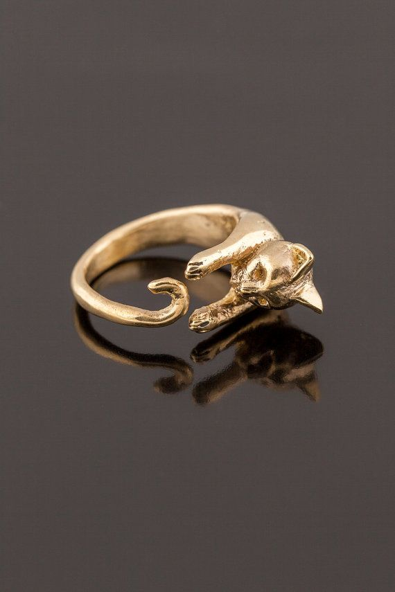 Golden Hugging Cat Ring. Adjustable Cat Ring. Hand by SecoJewelry