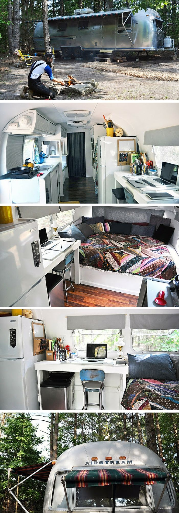 A 1978 Airstream trailer that was purchased for $5,000 nd turned into a home for another $1,500. Measures 188 square feet.