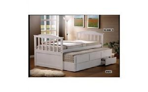 White Single Trundle BED With 3 Under BED Drawers Best Quality | eBay