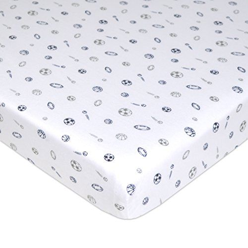 """American Baby Company Printed 100% Cotton Jersey Knit Fitted Portable/Mini-Crib Sheet, Navy/Grey Sports  100% Jersey Cotton. Measures 28 inches x 38 inches  SOFT. Our Value Jersey mini-crib sheets offer a warm, tee shirt like feel for exceptional comfort.  SELECTION. Available in a variety of colors to match any style.  QUALITY. Snug fit up to 3"""" thick mattress and elastic all around. Machine washable and dryable  VALUE. Quality and Selection at a great price."""
