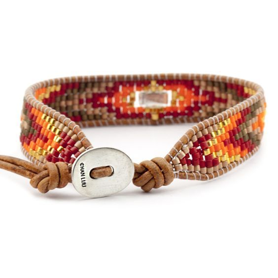 Chan Luu - Red Mix Single Wrap Bracelet on Natural Brown Leather, $140.00  (http