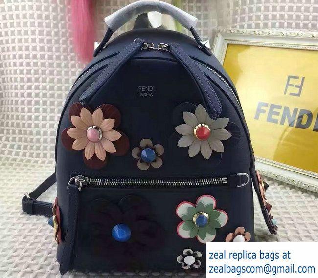 Fendi Flowerland Mini Zaino Backpack Bag Dark Blue Spring 2017