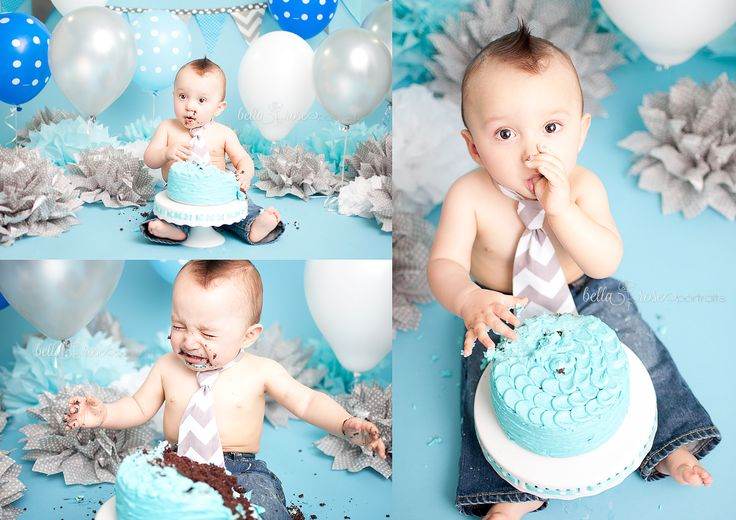 One year old boy cake smash blue and gray Bella Rose Portraits Oceanside, CA newborn and baby photographer