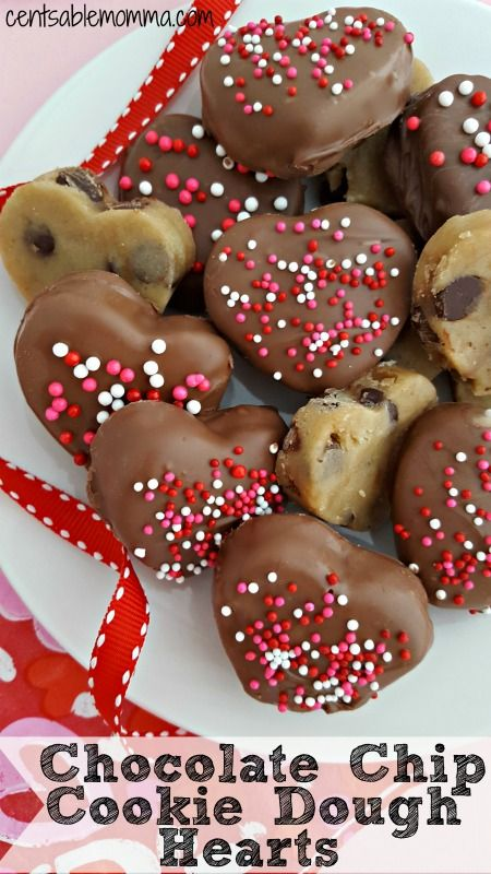 Celebrate Valentine's Day with these delicious Chocolate Covered Cookie Dough Hearts cut into heart shapes and covered with chocolate and sprinkles.  You can adapt the recipe to practically any other holiday, if you'd like.