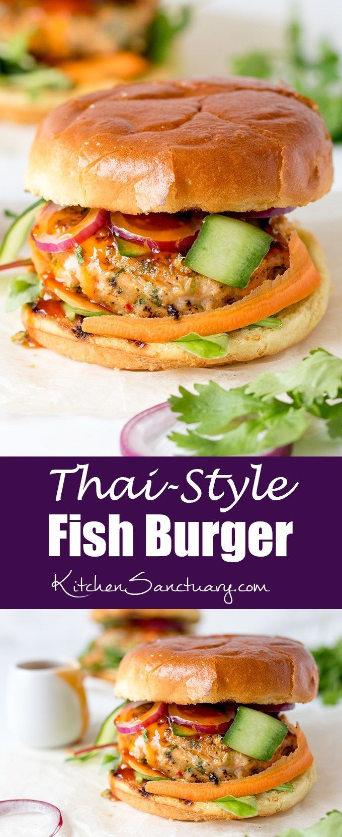 Thai-style fish burgers with sweet chilli sauce - really simple to make and they…