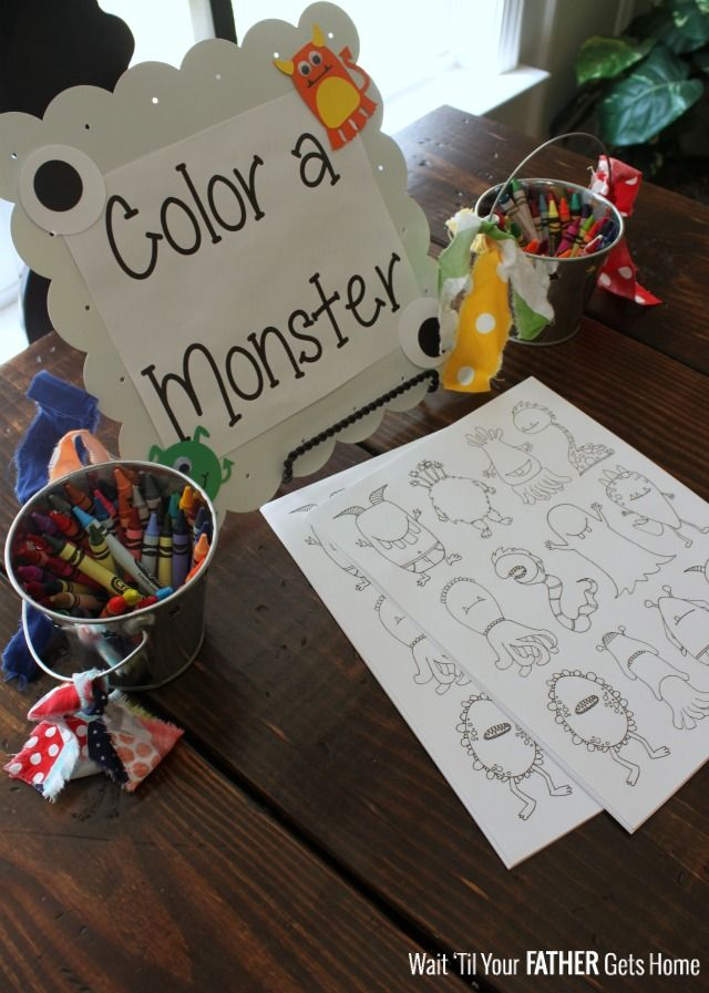 Find a cute printable to match the theme of your little one's birthday party and let party guests enjoy coloring.  Color a Monster with Wait 'til Your Father Gets Home #monsterprintable #birthdayactivity