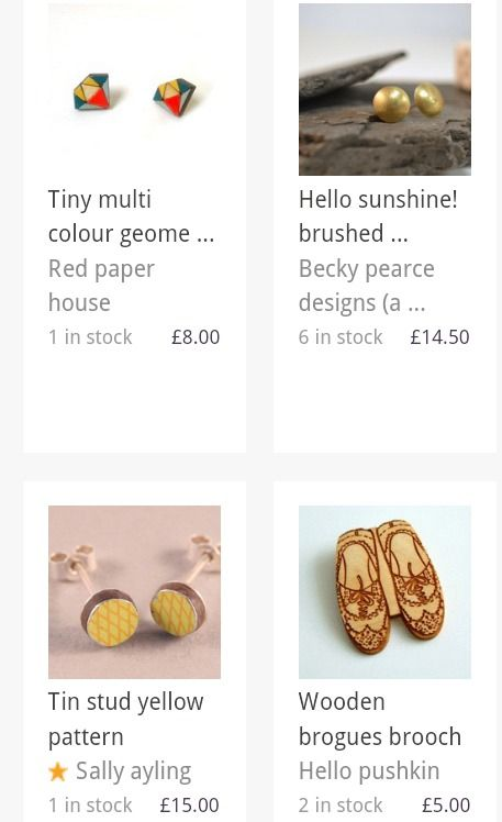 Tiny wooden diamond earrings featured on the Folksy Adorn Christmas Gift Guide. December 2013.