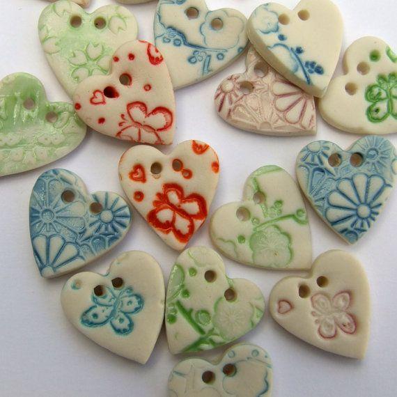 Small Handmade 1.5cm Heart Porcelain Buttons by melissaceramics, £1.30