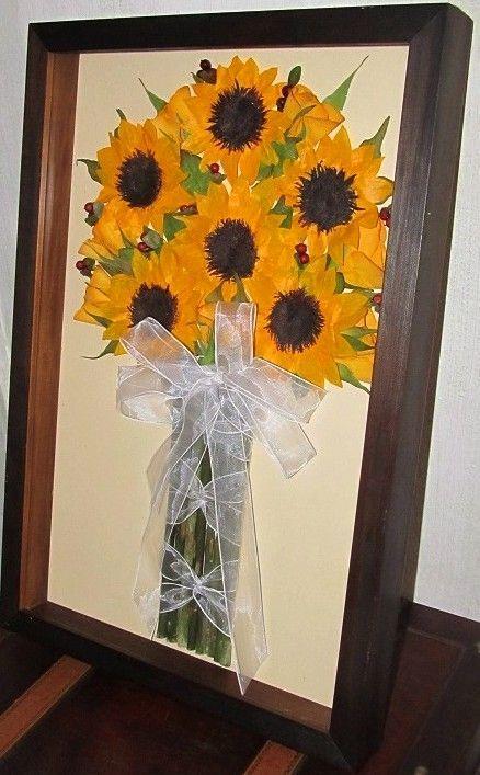 prensado y enmarcado de ramo de novia con girasoles