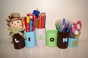 Pots à crayons en rouleaux de carton: Camille la chenille. - Création Créations des enfants de lilounonette n°44704 (Vue 233 fois)