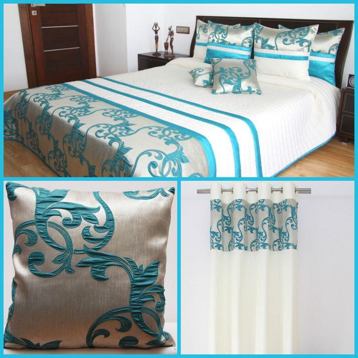Bíle tyrkysový dekorační set do ložnice se vzorem