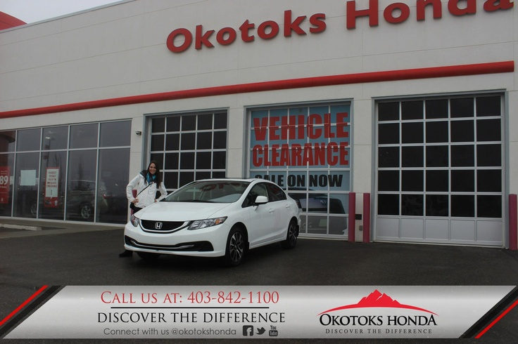 Kristen and her Honda Civic - thanks to Kerry Arnold Lewis. Welcome to the OH Family! Call Okotoks Honda at 403.842.1100 for your vehicle and maintenance needs.