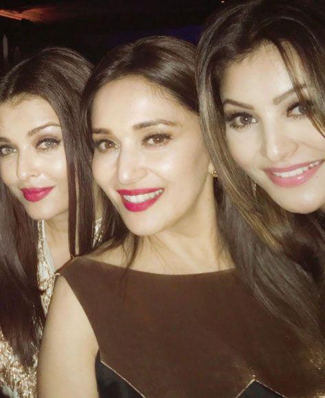 Aishwarya Rai Bachchan, Madhuri Dixit and Urvashi Rautela at Karan Johar's bash. #Bollywood #Fashion #Style #Beauty #Hot #Sexy