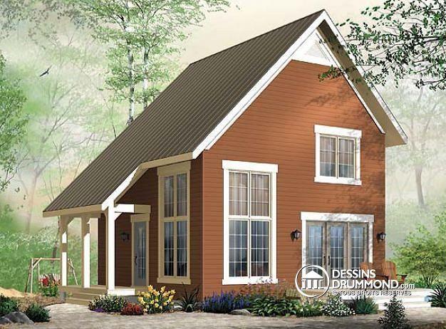 w3946 plan de chalet abordable de style transitionnel 2 chambres avec mezzanine - Plan De Maison Avec Mezzanine