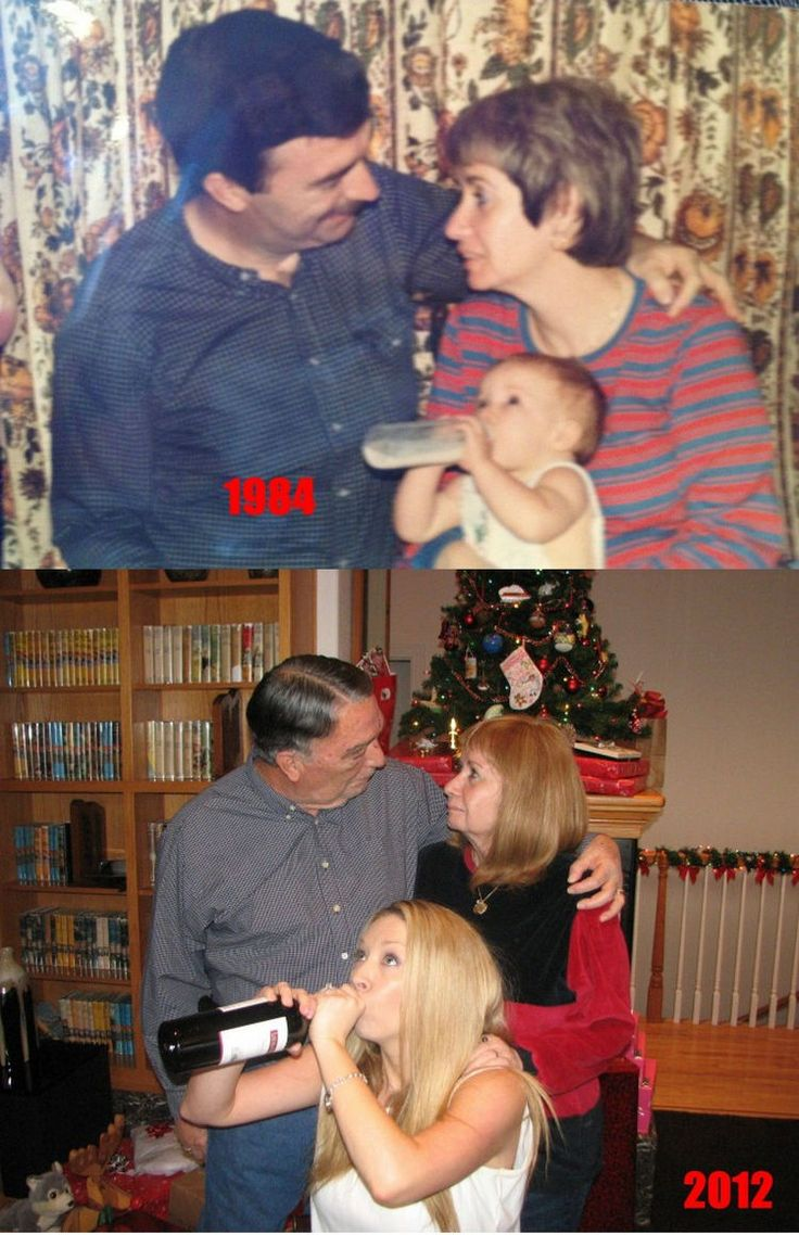 23 Then Now Photos - She prefers a bottle of wine 28 years later. Who doesn't?