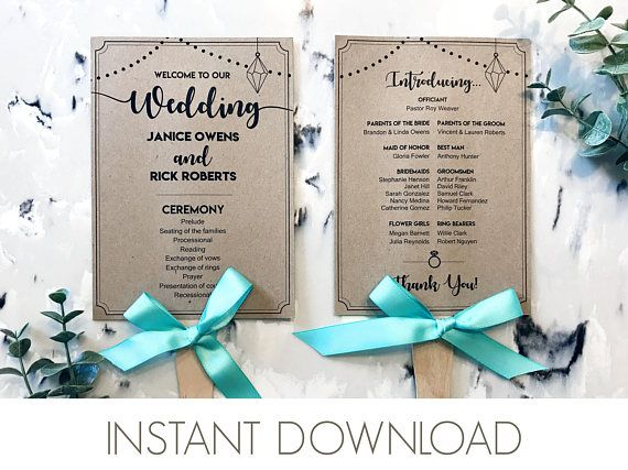 Wedding Program Fan Template PDF