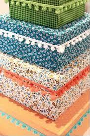 Resultado de imagen de cajas de carton ORGANIZADORAS forradas con tela