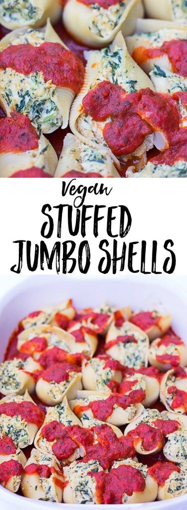 Vegan Stuffed Jumbo Shells with Spinach: Stuffed jumbo shells with cashew tofu ricotta and spinach.
