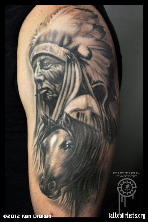 Indian Tattoos Black And Grayindian Chief W Horse Tattoos Pinterest Tattoos American Tattoos And Tattoo Artists