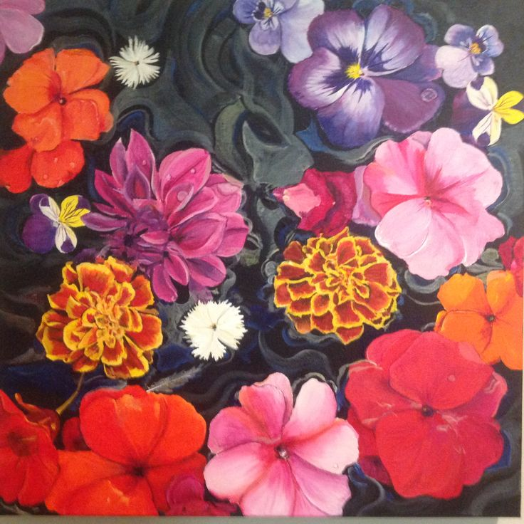 Floating Flowers - acrylic on canvas by Jackie Mac