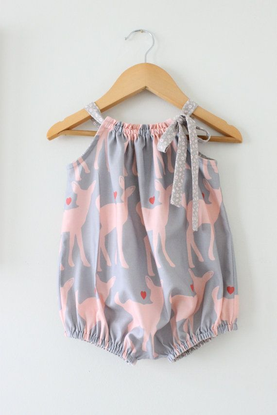 Baby Girl Cotton Romper Deers In Pink And Grey Summer One