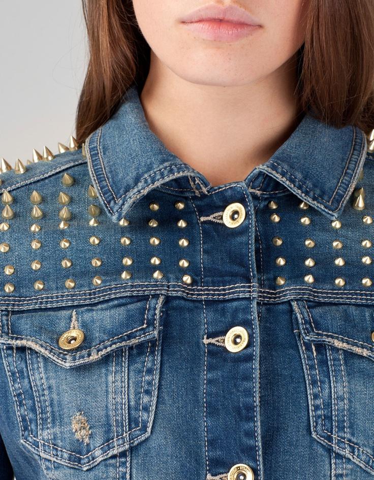 Giacchino di jeans borchie