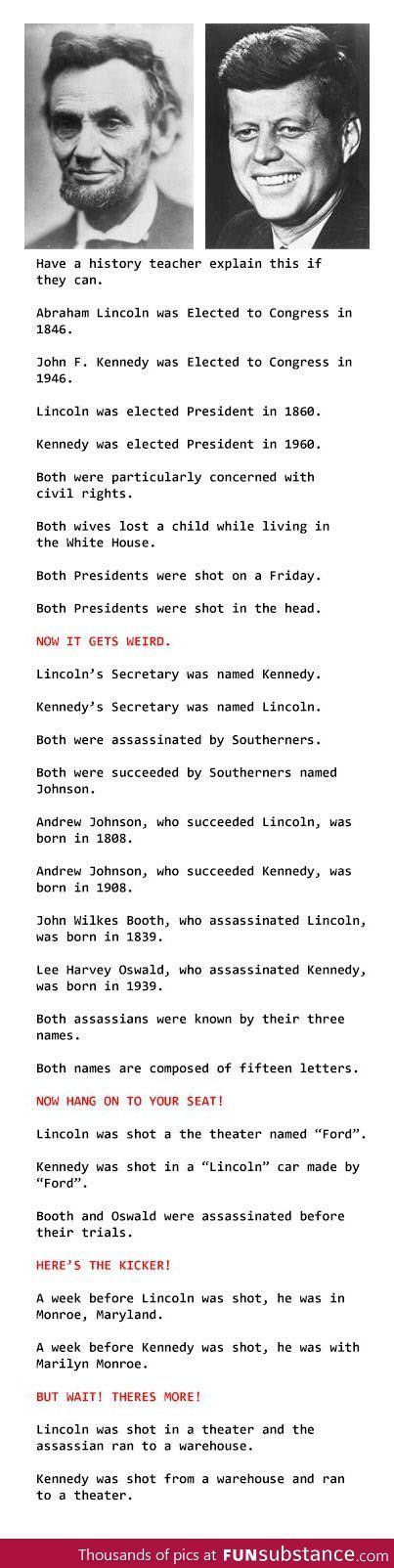 Mind blowing coincidences on Lincoln and Kennedy's deaths.