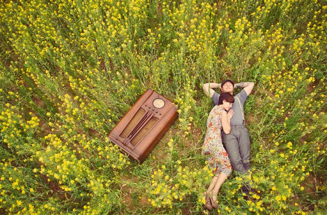 Anniversary Photos in a Field of Yellow Flowers