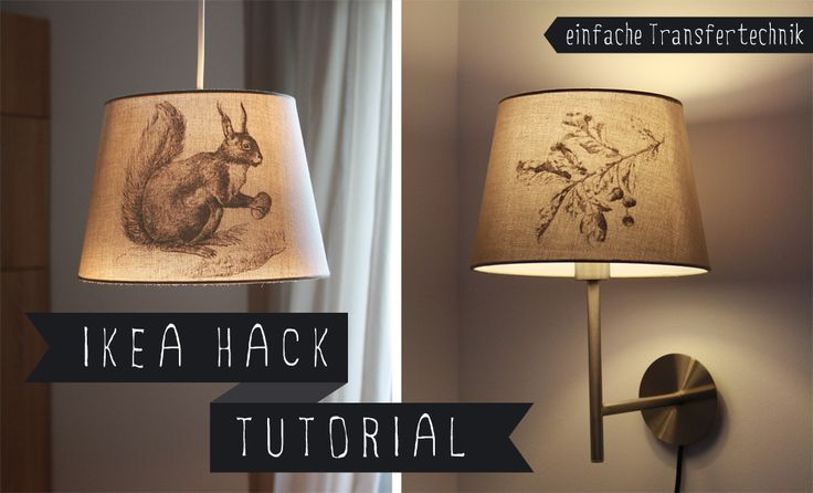 DIY IKEA HACK Transfertechnik Lampe vintage Eichhörnchen