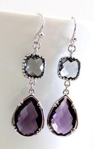 purple and grey drop earrings