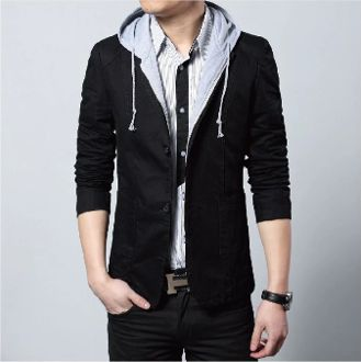 Mens Casual Blazer with Removable Hood