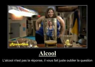 Affiche humour pour mettre dans un bar. Alcool avertissement
