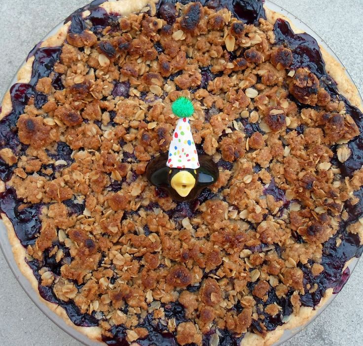 Happier Than A Pig In Mud: Fresh Blueberry Pie with Oatmeal Crumble Topping-Birthday Pie #3