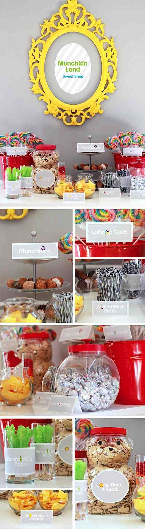 Some cute ideas here. Like using the bear shaped containers of animal crackers! Wizard of OZ party Dessert Table lollipops and munchkins