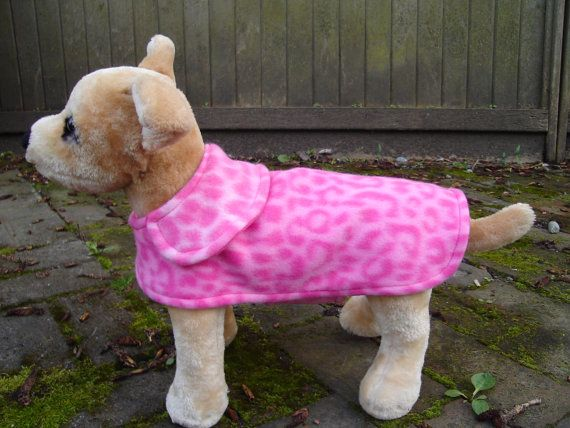 Pink and Hot Pink Leopard Fleece Dog Coat Small 8 by KozyCanines